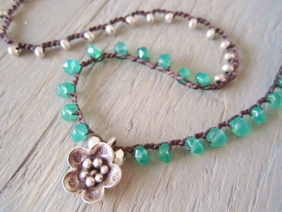 "Silver crochet necklace ""SeaSide Bliss"" faceted semi precious green onyx, emerald green, Thai silver, flower, bohemian boho chic"