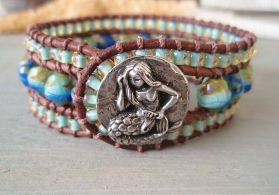 Mermaid leather cuff bracelet 'Ocean Mermaid'  seafoam green, aqua turquoise blue, surfer girl, luxe bohemian beach glam