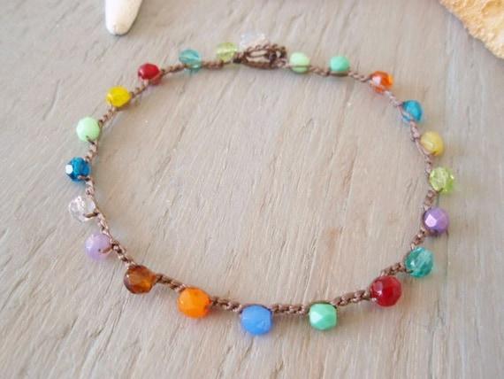 "Colorful crochet anklet ""RainBow Splash""  multi colored anklet, waterproof beach pool jewelry, bohemian hippie, surfer girl beach chic"
