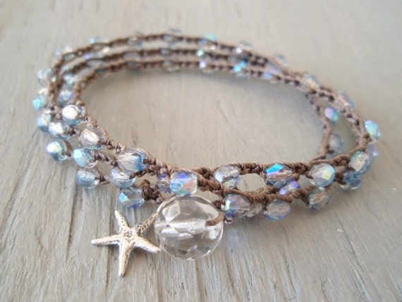 "Surfer chic crochet 3x wrap bracelet necklace 2x anklet ""Twinkle Star"" iridescent blue, Sterling silver starfish, winter beach bohemian"