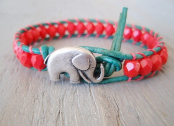 Coral 'Miami' leather wrap bracelet -Baby Elephant- coral, turquoise, lucky good luck charm, colorful boho chic