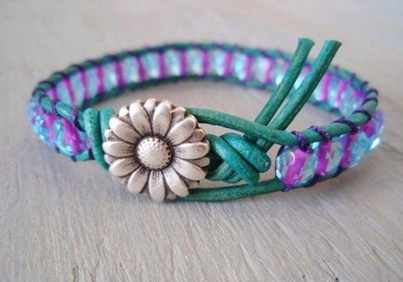 SALE 20% OFF- Turquoise 'Key West' leather wrap bracelet -Purple Passion- violet, blue, daisy, unique, colorful, ready to ship