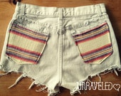 HighWaisted Shorts, Levis, Ethnic Tribal Pockets (Size SMALL)