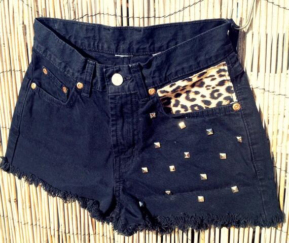 Vintage Lucky Denim High Waisted Shorts / Cheetah Print Pocket / Studded SALE