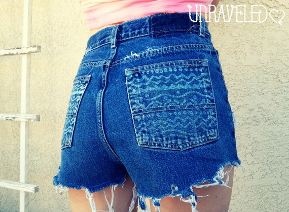 High Waist Denim Shorts with Tribal pockets (Size SMALL)