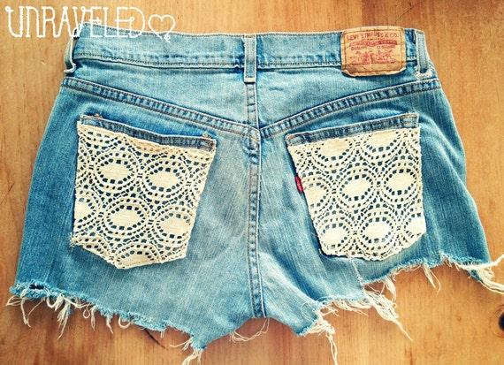 Lace pocket distressed shorts (Size MEDIUM-LARGE)