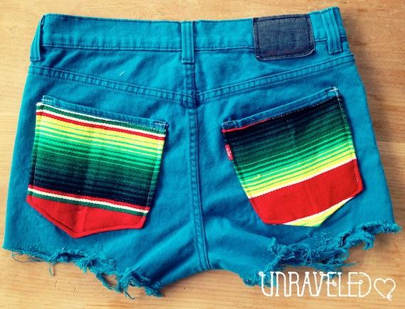 Levis Denim Shorts, Ethnic Tribal Pockets (Size SMALL to MEDIUM)
