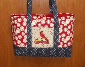 Large St. Louis Cardinal Bag/Tote, Quilted, Personalization is available