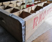 Vintage RKO Bottlers Wood Soda Crate Red Letter Retro Storage Cubby Industrial