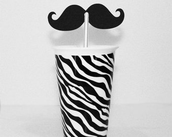 Mustache Black Die Cuts with Holes for Straws perfect for your Party Shower Wedding Photo booth 100 pieces