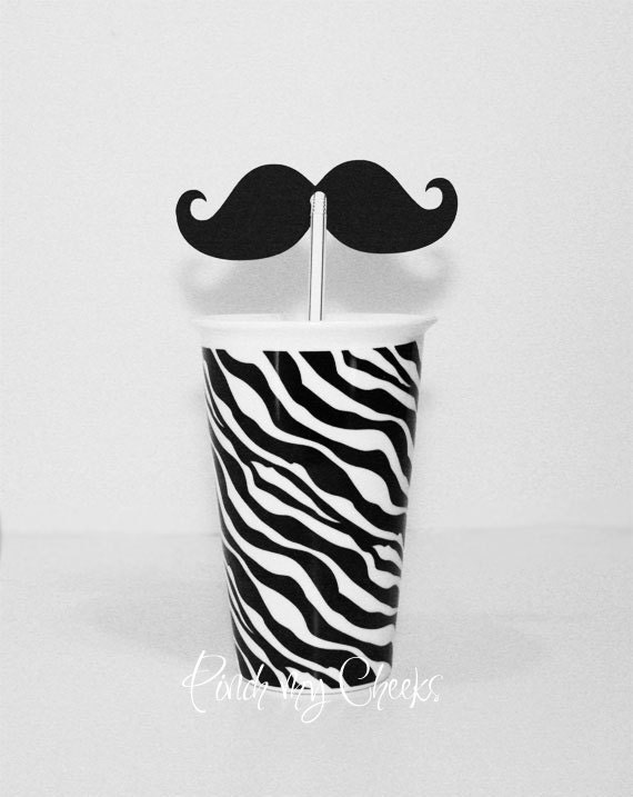 Mustache Black Die Cuts with Holes for Straws perfect for your Party Shower Wedding Photo booth 50 pieces