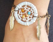 White Dream Catcher Bracelet with Feathers