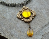 Bohemian Honey Yellow Necklace Braided Brass Chain
