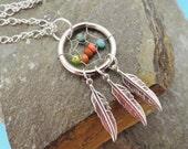 Multi Color Dream Catcher Necklace Silver Feathers