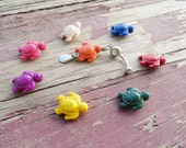 Carved Turtle Belly Button Ring, YOU CHOOSE COLOR Belly Navel Jewelry Belly Ring