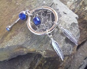 Sapphire Blue Pearl Dream Catcher Belly Button Ring, Pearl Belly Ring Navel Jewelry