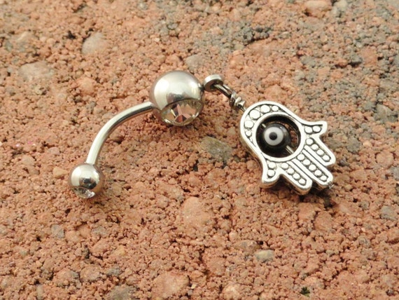 Hand of Fatima Belly Button Ring, Evil Eye Belly Ring, Hamsa Belly Button Jewelry