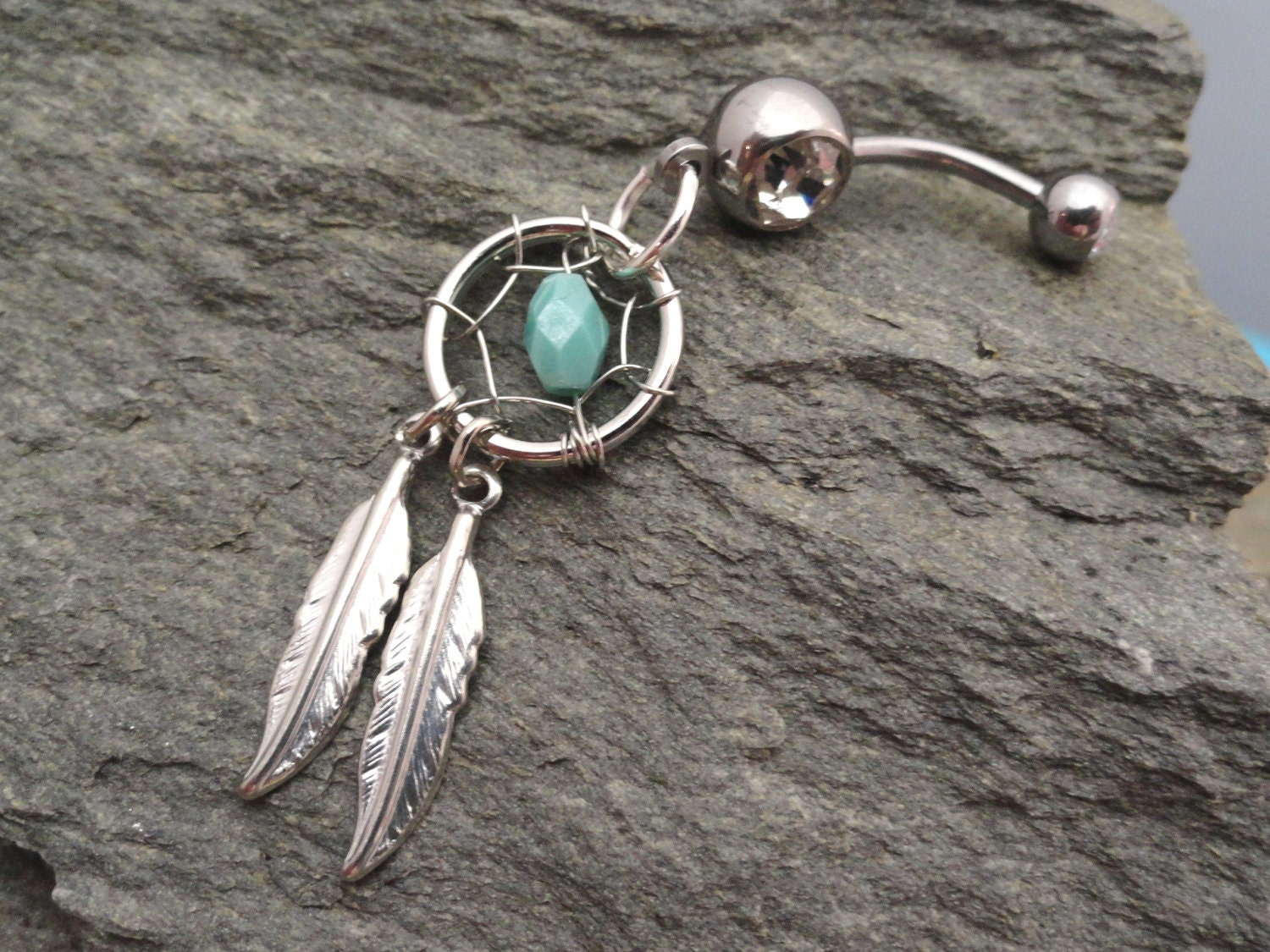 Turquoise Dream Catcher Belly Button Ring by MidnightsMojo ... Dreamcatcher Belly Button Piercing