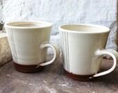 Mug - Retro Terracotta with cream white and brown stripe decoration