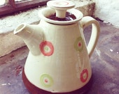 Teapot - Terracotta slipware, white with polo pink and lime green decoration