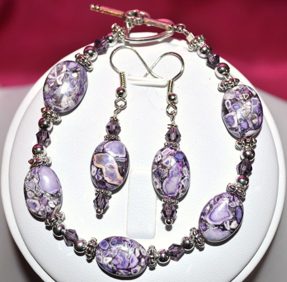 BUY 3 GET 1 FREE -- Purple Howlite Bracelet and Earrings Set