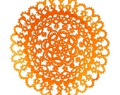 Light Orange Watercolor Crochet Pattern 5X7 print