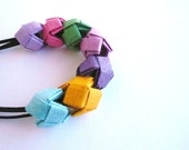Paper necklace- Origami jewelry- colorful paper beads