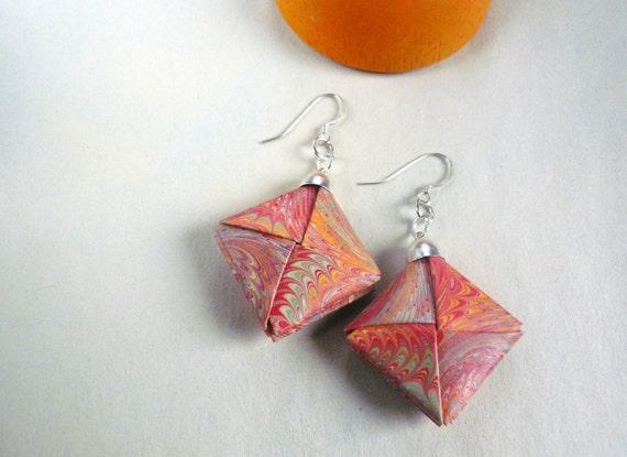 Marbled paper - Orange Origami earrings