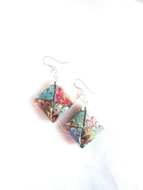 Marbled Paper- Earrings Paper - Origami Jewelry