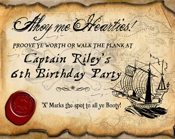 Pirate Party Sign Boys Birthday - INSTANT DOWNLOAD - Editable & Printable Party Decorations by Sassaby