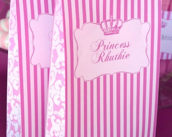 Princess Party Bag Template INSTANT DOWNLOAD - Editable & Printable Birthday Decorations, Decor, Candy Favor by Sassaby Parties