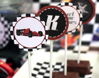 Racing Car Party Circles/Cupcake Toppers - INSTANT DOWNLOAD - Editable & Printable Birthday Decorations by Sassaby