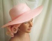 1970s Vintage Wide Brim Pink Straw Hat