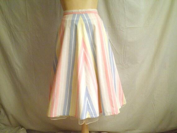 """1940s Vintage Summer Cotton Gored Skirt Pastel Stripes 26"""" waist"""