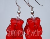 Real Red GUMMY BEAR Earrings Jewelry NEW  Free Ship