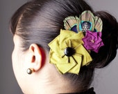 SALE - Celadon Thai Silk Duiponi Flower Hair Clip and Brooch with Peacock and Guinea Feathers