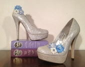 Sky Blue, Baby Blue, and Ivory Shoe Clips