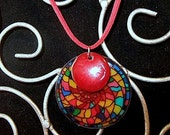 Stained Glass Look Double Medallion Necklace