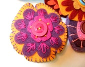 Pink, Purple and Orange Embroidered Felt Brooch