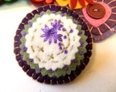Purple, Sage and Off-White Embroidered Felt Brooch