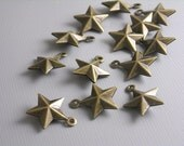 CHARM-AB-BARNSTAR - 10 pcs Antique Bronze 3D Barn Star Charms