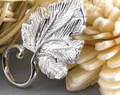 50% off - CHARM-SILVER-RAINFOREST2 - Rain Forest Leaf Pendant, Silver Plated, Nickel Free...5 pcs