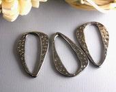 CHARM-GUNMETAL-OVAL - Gunmetal Plated Textured Charm/Linking Ring, 6 pcs, Nickel Free