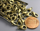 LOBSTER-AB-12MMx6MM - 10 pcs Antique Bronze Lobster Clasps - 12mm x 6mm