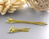 100 pcs of Mixed 14k Gold Plated Ball End Headpins (24 guage)...20mm and 50mm