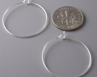 HOOP-SILVER-WINE-25MM - 20 pcs of 25mm Silver Plated Hoop Earrings