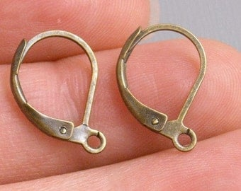 HOOP-AB-L-15MM - Grade AA 15mm Antique Bronze Hoop Earrings with Leverback - 20 pcs