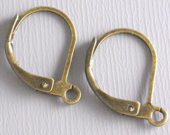HOOP-AB-L-15MM - Grade AA 15mm Antique Bronze Hoop Earrings with Leverback - 50 pcs