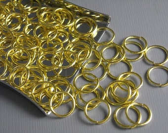 JUMPRING-GOLD-8MM - 8mm Gold Plated Open Jump Rings - 50 pcs