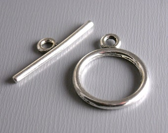 TOGGLE-SILVER-15MM - Antique Silver Plated Toggle Clasps...10 sets
